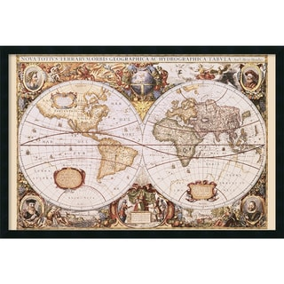 Hondio & Jansson 'Map Of The World' Gel-Textured Art Print