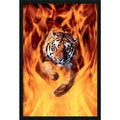 'Bengal Tiger Jumping In Flames' Gel-Textured Art Print