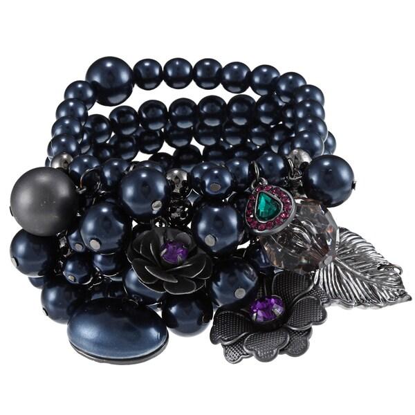 Roman Silvertone Faux Pearl Cluster Multi-strand Stretch Bracelet