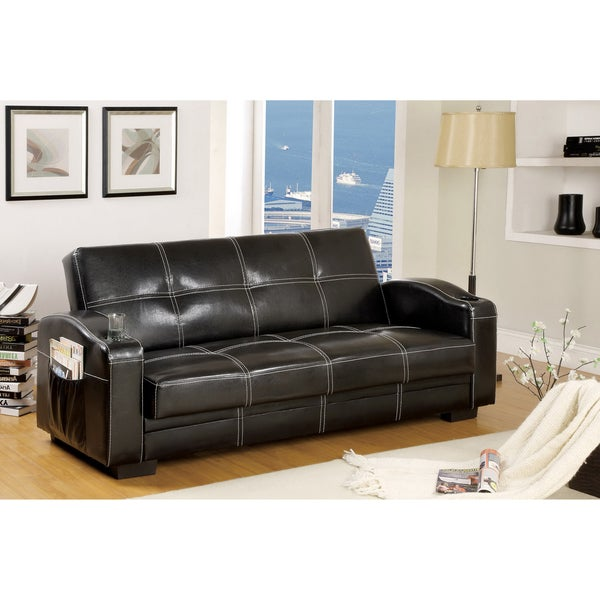 Furniture of America Max Multi-functional Futon Sleeper Sofa with Storage and Cup Holder