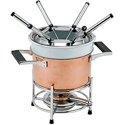 Decor Copper Fondue Set with Ceramic Insert