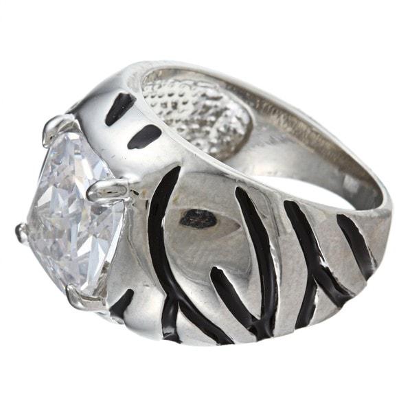 Celeste Silvertone Cushion-cut CZ Tiger Stripe Cocktail Ring