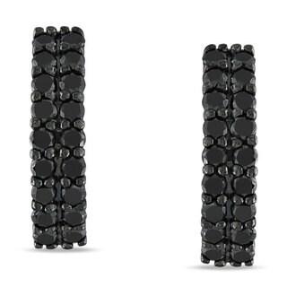 Miadora Sterling Silver 1ct TDW Black Diamond Hoop Earrings