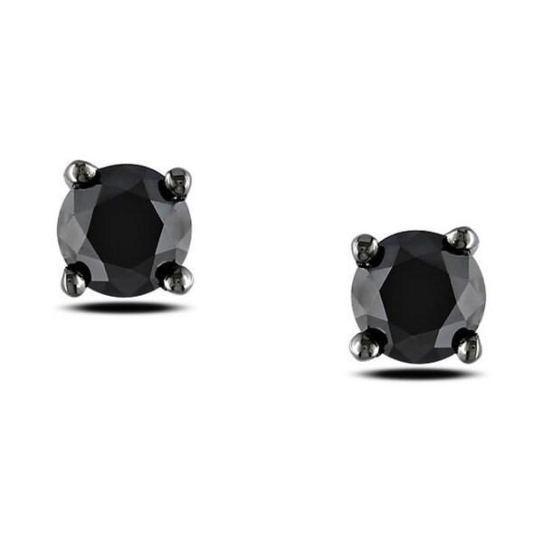 Miadora Black Rhodium over Silver 1ct TDW Black Diamond Stud Earrings