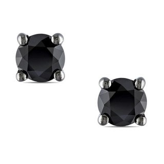 M by Miadora Black Rhodium over Silver 1/2ct TDW Black Diamond Stud Earrings