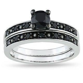 Miadora 10k White Gold 1ct TDW Black Diamond Bridal Ring Set with Bonus Earrings