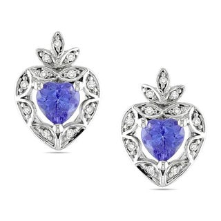 Miadora 10k White Gold 4/5ct TGW Tanzanite 1/10 TDW Stud Earrings (H-I, I2)