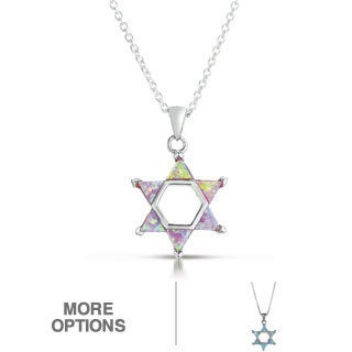 Sterling Silver Blue/ Pink Opal 'Star of David' Necklace