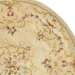Safavieh Handmade Light Green/ Beige Hand-spun Wool Rug (4' Round)