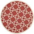 Poolside Red/ Beige Indoor Outdoor Rug (5'3 Round)