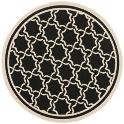 """Safavieh Poolside Black/Beige Indoor/Outdoor Polypropylene Rug (6'7"""" Round)"""