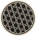 "Poolside Black/Beige Indoor/Outdoor Polypropylene Rug (6'7"" Round)"