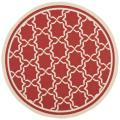 Poolside Red/ Bone Indoor Outdoor Rug (5'3 Round)