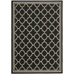 Poolside Black/ Beige Indoor Outdoor Rug (4' x 5'7)