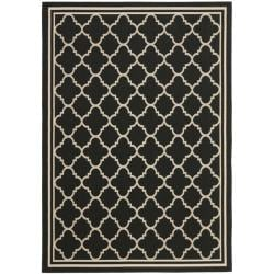 Poolside Black/ Beige Indoor Outdoor Rug (5'3 x 7'7)