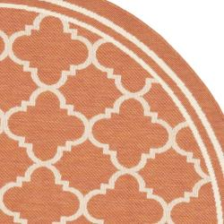 Poolside Terracotta/ Bone Indoor Outdoor Rug (5'3 Round)