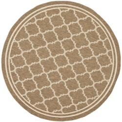Safavieh Poolside Brown/ Bone Indoor Outdoor Rug (6'7 Round)