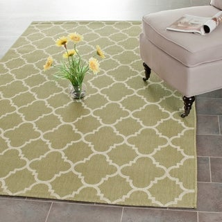 Safavieh Poolside Green/ Beige Indoor Outdoor Rug (6'7 x 9'6)
