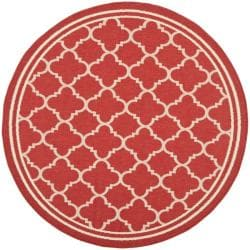 Traditional Poolside Red/Bone Indoor/Outdoor Rug (5'3 Round)
