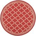 Safavieh Poolside Red/ Bone Indoor Outdoor Rug (6'7 Round)