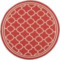 Poolside Red/ Bone Indoor Outdoor Rug (6'7 Round)