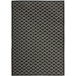 """Safavieh Poolside Black/Beige Indoor/Outdoor Bordered Rug (2'7"""" x 5')"""