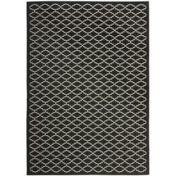 """Safavieh Poolside Black/Beige Polypropylene Indoor/Outdoor Rug (5'3"""" x 7'7"""")"""
