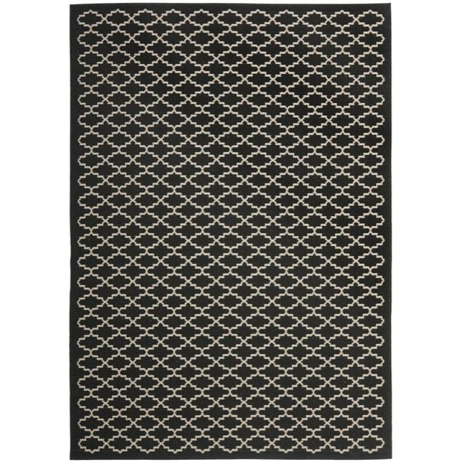 Safavieh Poolside Black/Beige Stain-Resistant Indoor/Outdoor Rug (9' x 12')