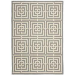 Poolside Grey/ Cream Indoor Outdoor Rug (5'3 x 7'7)