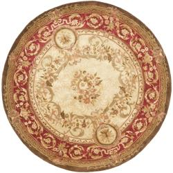 Handmade Aubusson Maisse Light Gold/ Red Wool Rug (3'6 Round)