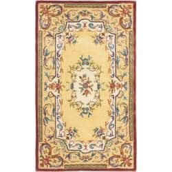 Handmade French Aubusson Loubron Gold Premium Wool Rug (3' x 5')