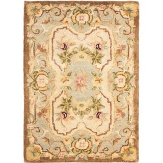 Handmade Aubusson Plaisir Ivory/ Light Blue Wool Rug (3' x 5')