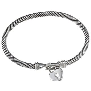 Celeste Stainless Steel Heart Charm Bangle Bracelet