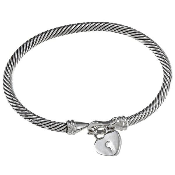 Celeste Stainless Steel Heart Charm Bangle Bracelet