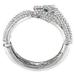 Celeste Silvertone Crystal Leopard Bangle Bracelet