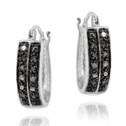 DB Designs Sterling Silver 1/4ct TDW Two Row Black Diamond Hoop Earrings
