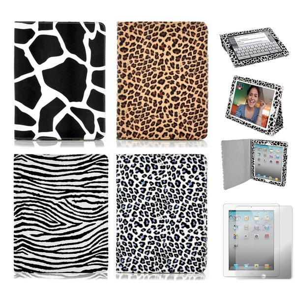 Apple iPad 3 Animal Print Folding Stand Case with Screen Protector