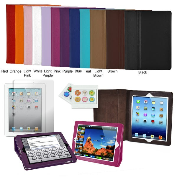 Apple iPad 3 Leatherette Folding Stand Case with Screen Protector