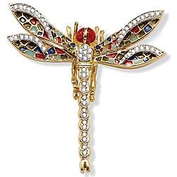 Lilith Star Goldtone/Gemstone 55-crystal High-polish Dragonfly Pin