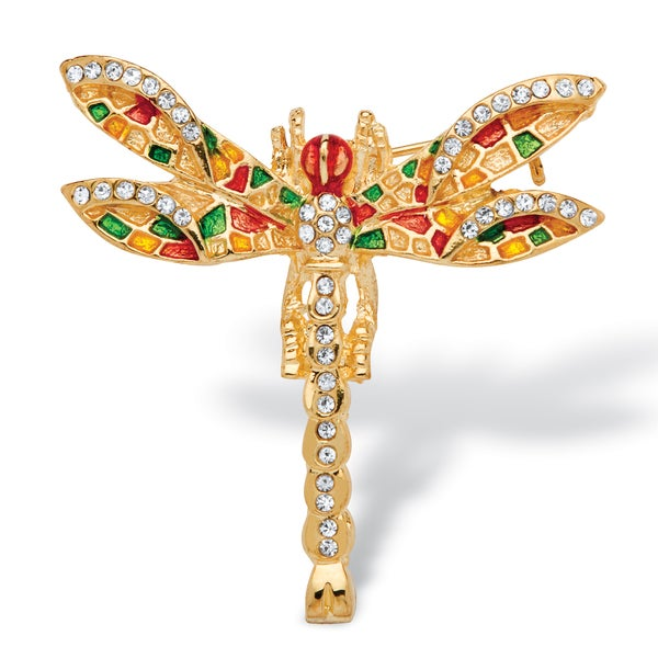 PalmBeach Multicolor Crystal Enamel Dragonfly Pin in Yellow Gold Tone Bold Fashion