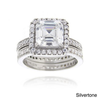 Icz Stonez Silvertone CZ Bridal Ring Set