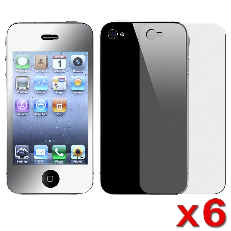 INSTEN Mirror LCD Screen Protector for Apple iPhone 4 (Pack of 6)