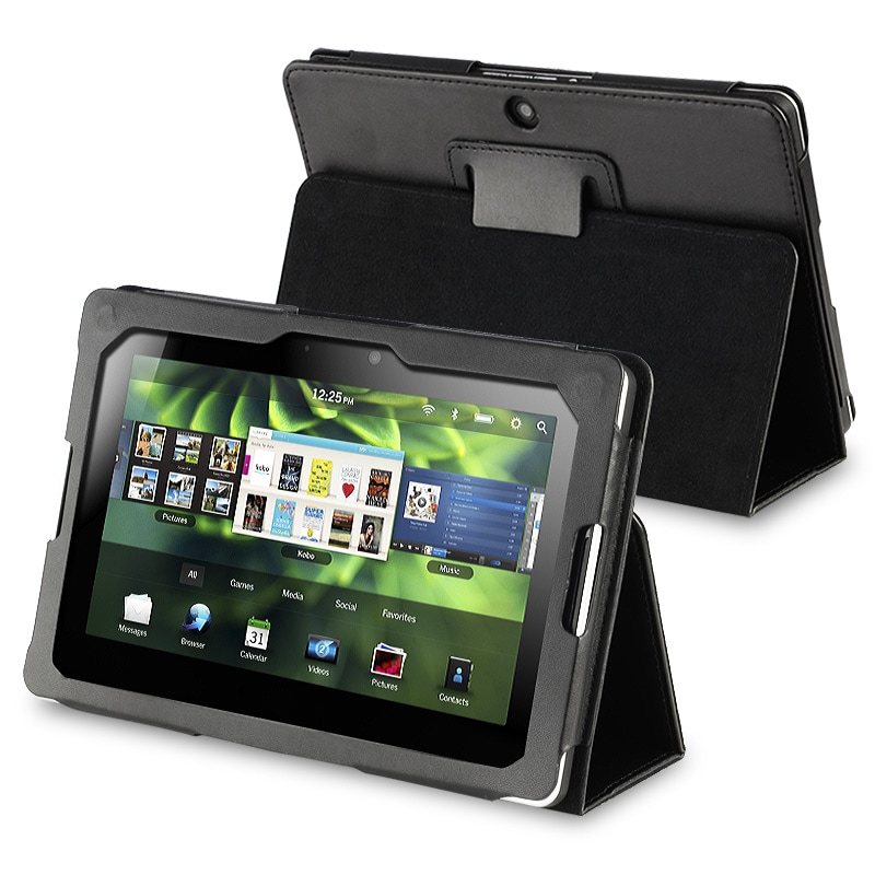 INSTEN Black Leather Phone Case Cover with Stand for BlackBerry Playbook