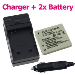 BasAcc Two Batteries/ Charger for Canon NB-4L Powershot