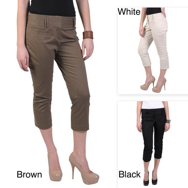Journee Collection Women's Contemporary Flat Front Casual Capris