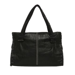 Journee Collection Women's Faux Leather Topstitched Double Handle Bag