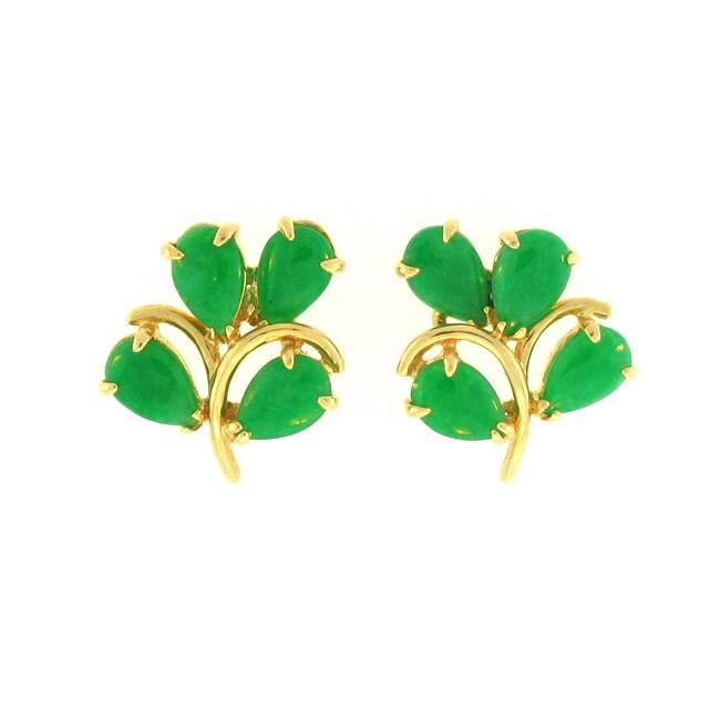 Mason Kay Natural Green Jadeite Leaf Earring