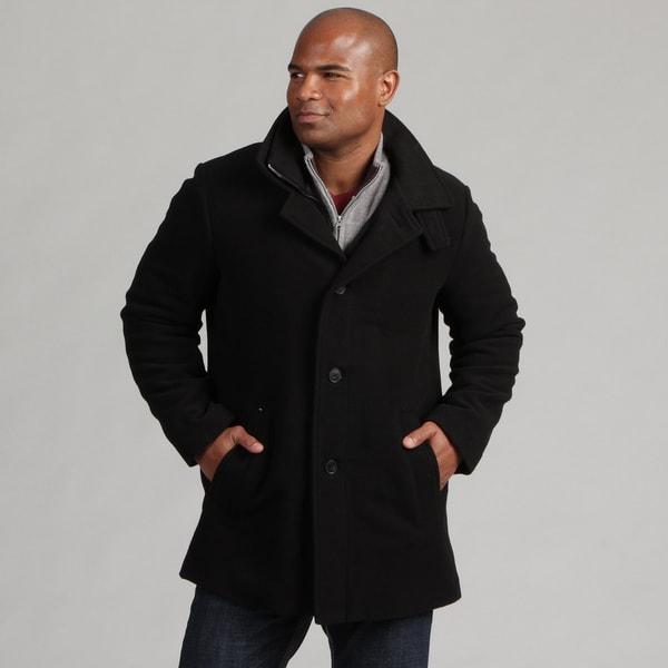 Calvin Klein Men's Black Stand Collar Wool Blend Coat