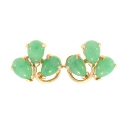 Mason Kay Natural Green Jadeite Jade Leaf Earring