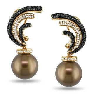 Miadora Signature Collection 18K Pink Gold 7/8ct TDW Diamond Tahitian Pearl Earrings (G-H, SI1)